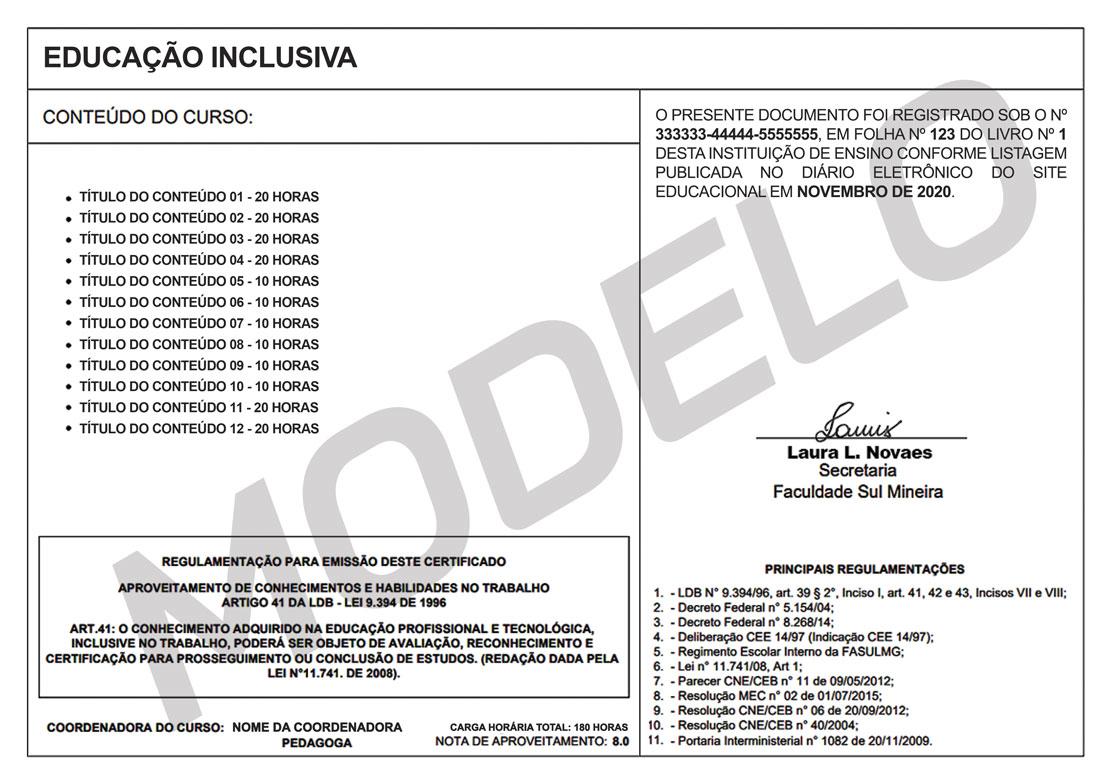 Verso modelo certificado
