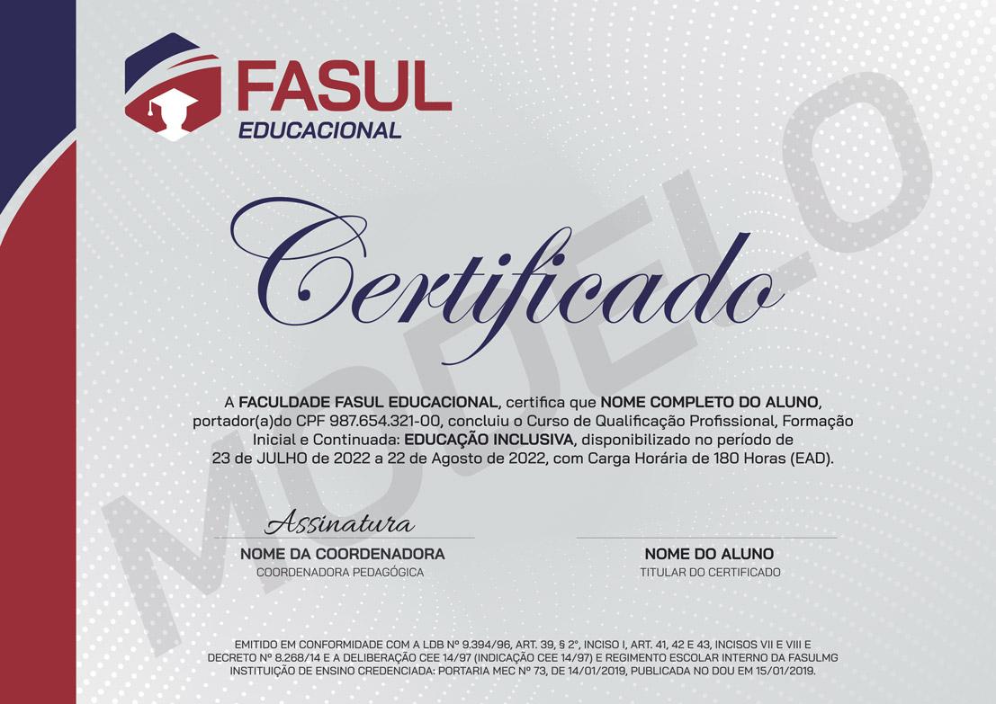Frente modelo certificado